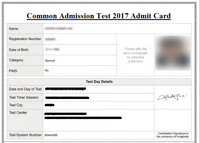 Sample CAT Admit Card